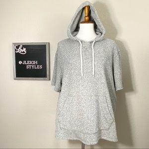 BDG Gray Confetti Short Sleeve Hoodie Sweatshirt